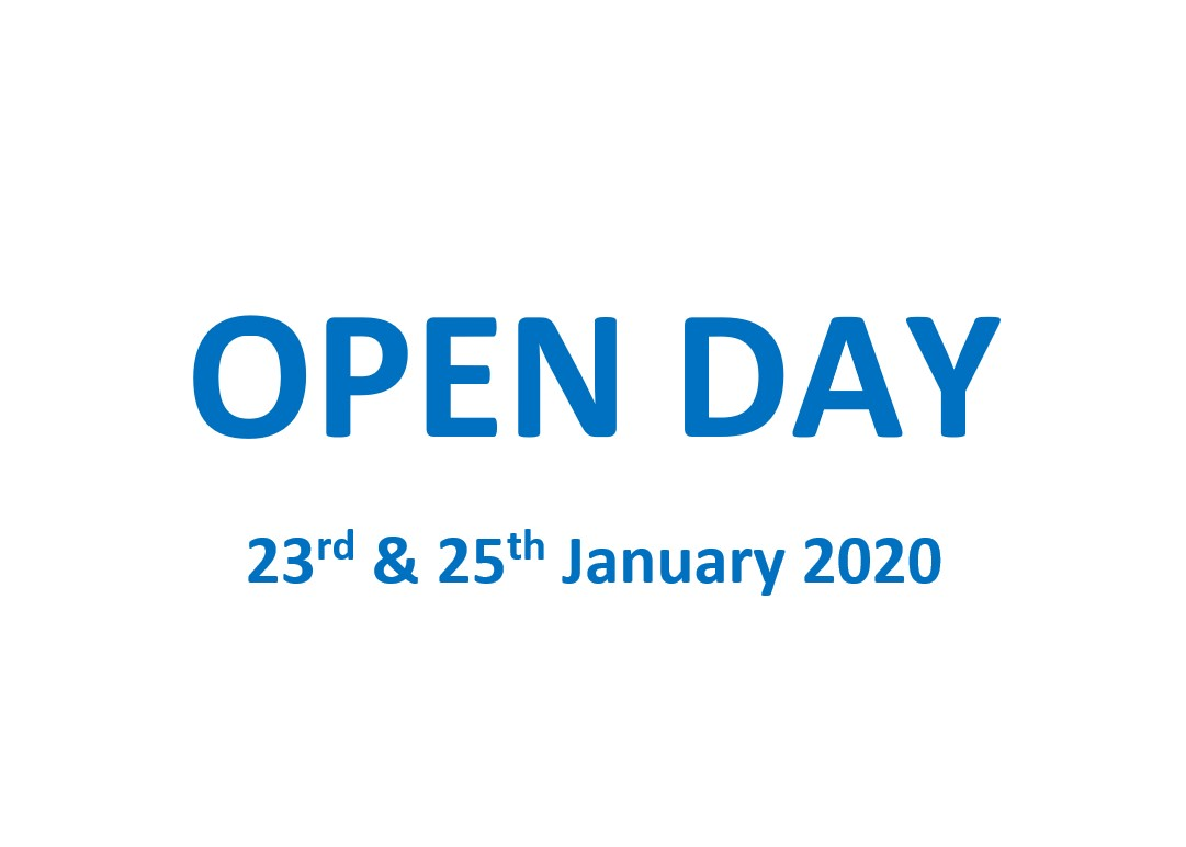 Open Day! 23 & 25 Jan 2020