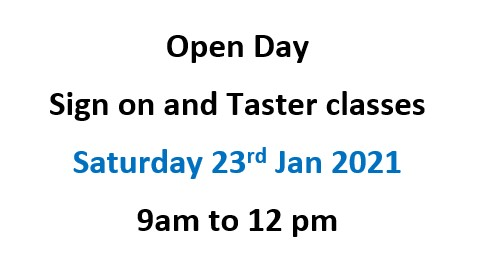 Open Day! 9am to 12pm, Sat 23rd Jan 2021